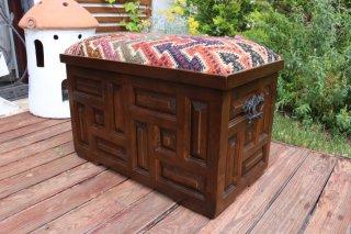 キリム家具 サンドゥク 収納木箱スツール #22