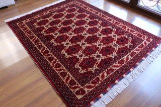 アフガン絨毯 艶とデザインが魅力のビリジック 約200x152cm
