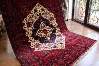 アフガン絨毯 美しくエレガントなビリジック 約193x148cm