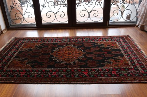 ツヤツヤ!オールド絨毯 オシャレなボテ柄 深みのあるバルーチ 約198x117cm