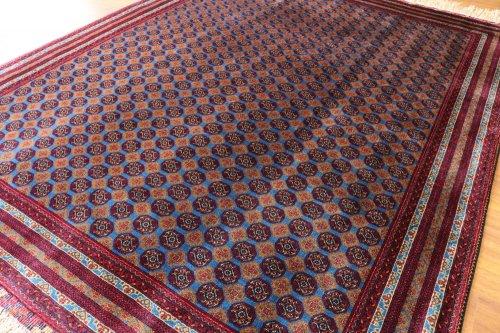 アフガン最高級絨毯ホジャロシュナイ 久々の艶々ブルー!約3平米