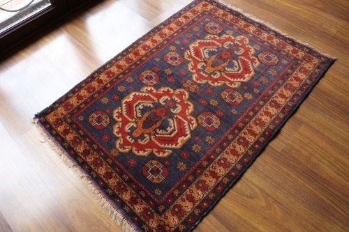 ツヤツヤオールド絨毯 おしゃれなバルーチ 約122x87cm