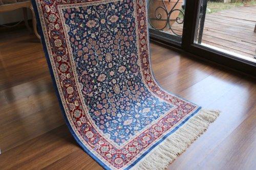 ヘレケ絨毯 シルク100% 七つの山の花 約96x63cm