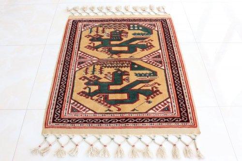 コレクション <br>トルコ絨毯 老舗工房による天然染料 15世紀の絨毯デザイン 約117x93cm