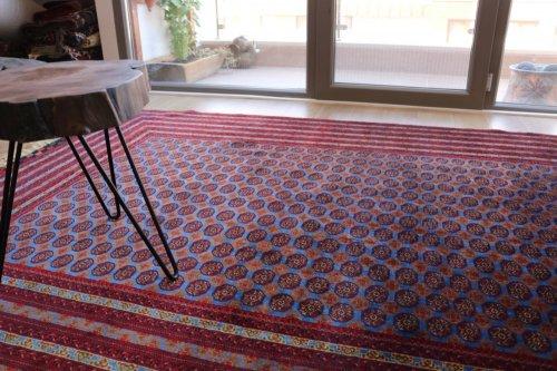 アフガン最高級絨毯ホジャロシュナイ 艶々ブルーで初めての約4平米