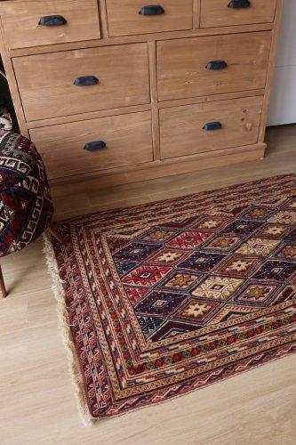 ムシュワニ スマック織とパイル織の混合キリム 約142x86cm