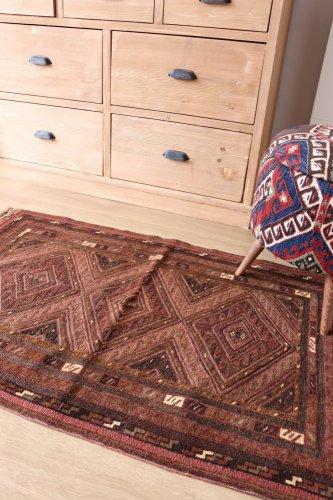 ムシュワニ スマック織とパイル織の混合キリム 約128x78cm