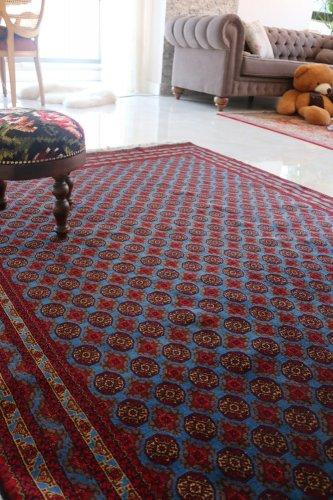 (割引対象外) アフガン最高級絨毯ホジャロシュナイ 久々の艶々ブルー!