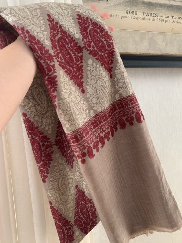 カシミアストール カシミール 美しいシルク刺繍 no.1