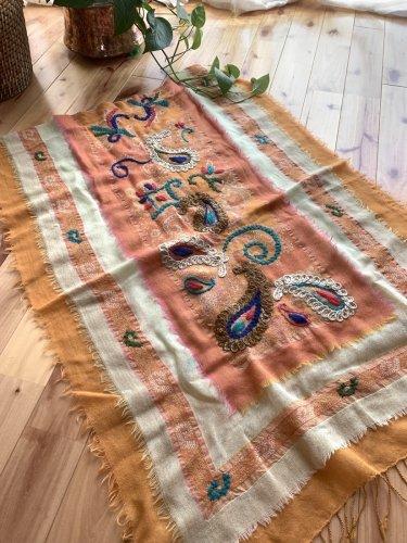 ウールストール 大判  刺繍  パッションフルーツ