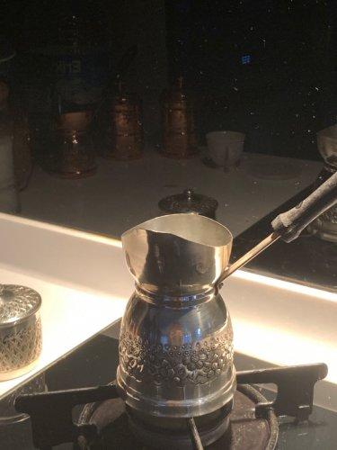 銅製品 お洒落な手打ちコーヒーポット ジェズヴェ シルバーコーティング