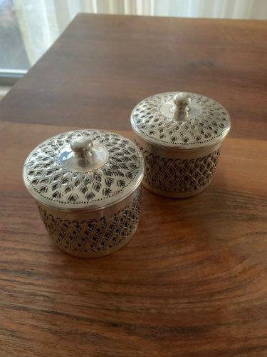 銅製品 お洒落なスパイス/シュガーポット シルバーコーティング