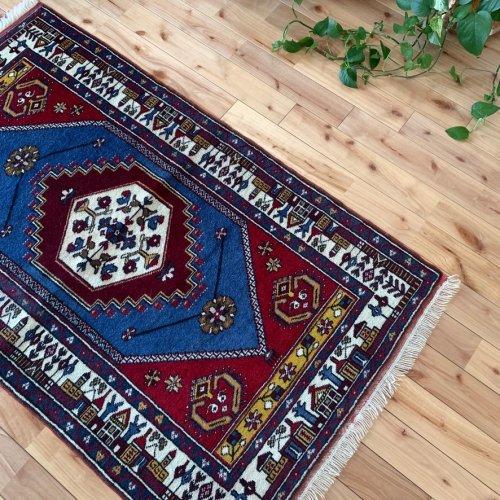 オールド絨毯 ヤフヤル 可愛いマンザラル  143x84