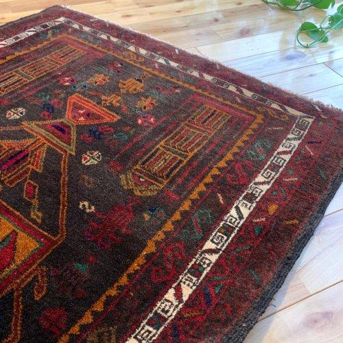 オールド絨毯 シックで深みのある配色 水瓶デザイン アフガン バルーチ 約138x90