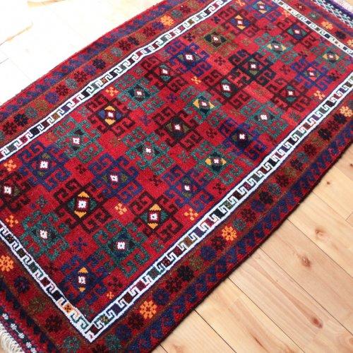アフガン バルーチ 素敵なふかふかの絨毯 118x64cm