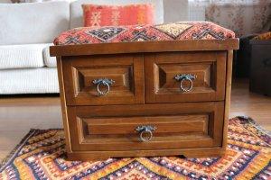 キリム家具 サンドゥク 木箱 引き出し フットスツール#1