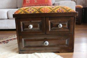 キリム家具 サンドゥク 木箱 引き出し フットスツール#2