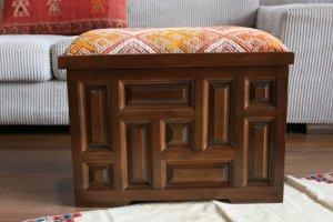 キリム家具 サンドゥク 木箱 引き出し フットスツール・スツール#3