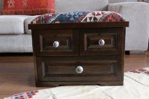 キリム家具 サンドゥク 木箱 引き出し フットスツール・スツール#4