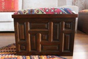 キリム家具 サンドゥク 木箱 引き出し フットスツール・スツール#5