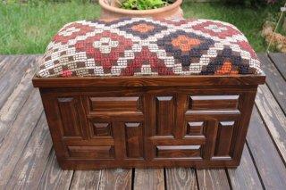キリム家具 サンドゥク 木箱兼スツール #12