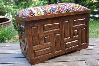 キリム家具 サンドゥク 木箱兼スツール #13
