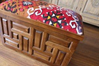 キリム家具 サンドゥク 木箱兼スツール #18