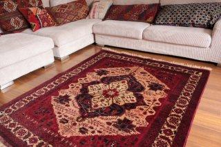 アフガン絨毯 美しく細密なビリジック 約184x149cm