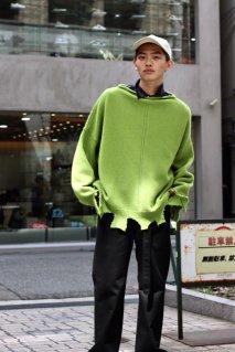 SYU.HOMME/FEMM  Damage lamb's wool pullover(GREEN)
