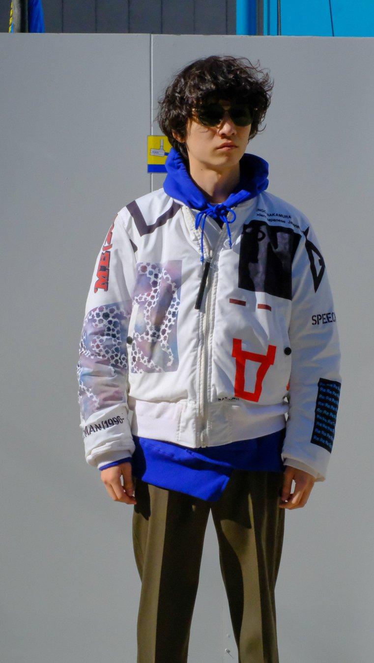 【20%OFF】soe  Printed Flight Jacket Artwork by Kengo Nakamura(WHITE)<img class='new_mark_img2' src='https://img.shop-pro.jp/img/new/icons20.gif' style='border:none;display:inline;margin:0px;padding:0px;width:auto;' />