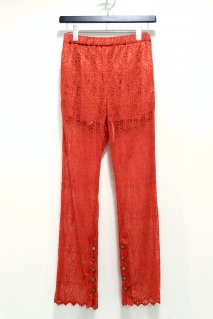 BELPER  WAVE PLEATED LACE STRAIGHT PANTS(ORANGE)<img class='new_mark_img2' src='https://img.shop-pro.jp/img/new/icons15.gif' style='border:none;display:inline;margin:0px;padding:0px;width:auto;' />