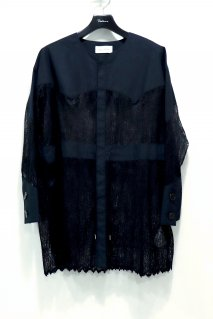 BELPER  WAVE PLEATED LACE SHIRT JACKET(BLACK)<img class='new_mark_img2' src='https://img.shop-pro.jp/img/new/icons15.gif' style='border:none;display:inline;margin:0px;padding:0px;width:auto;' />