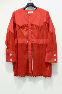 BELPER  WAVE PLEATED LACE SHIRT JACKET(ORANGE)<img class='new_mark_img2' src='https://img.shop-pro.jp/img/new/icons15.gif' style='border:none;display:inline;margin:0px;padding:0px;width:auto;' />