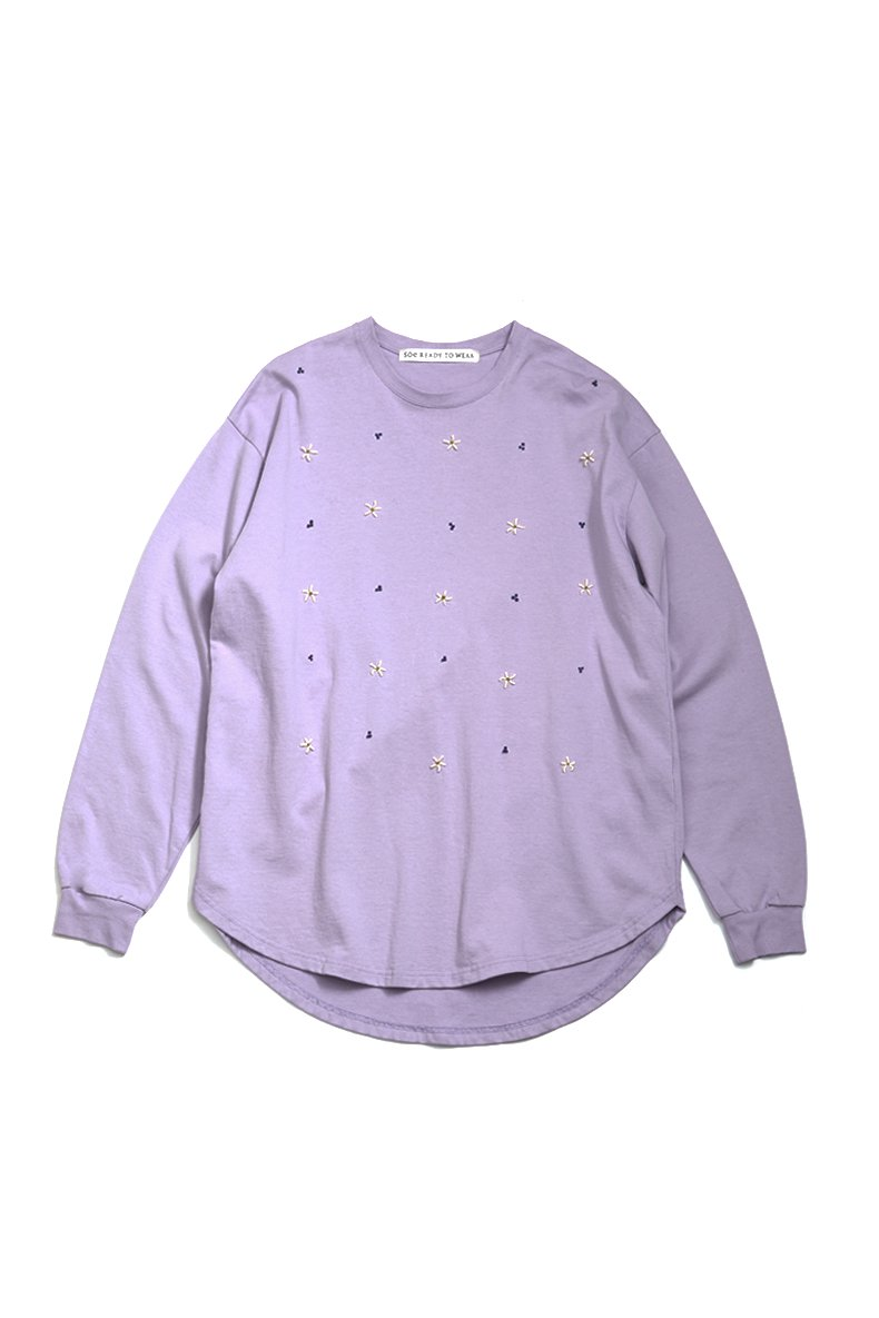 soe  Stiching Flower Curved Hem L/S Tee(PURPLE)<img class='new_mark_img2' src='https://img.shop-pro.jp/img/new/icons15.gif' style='border:none;display:inline;margin:0px;padding:0px;width:auto;' />