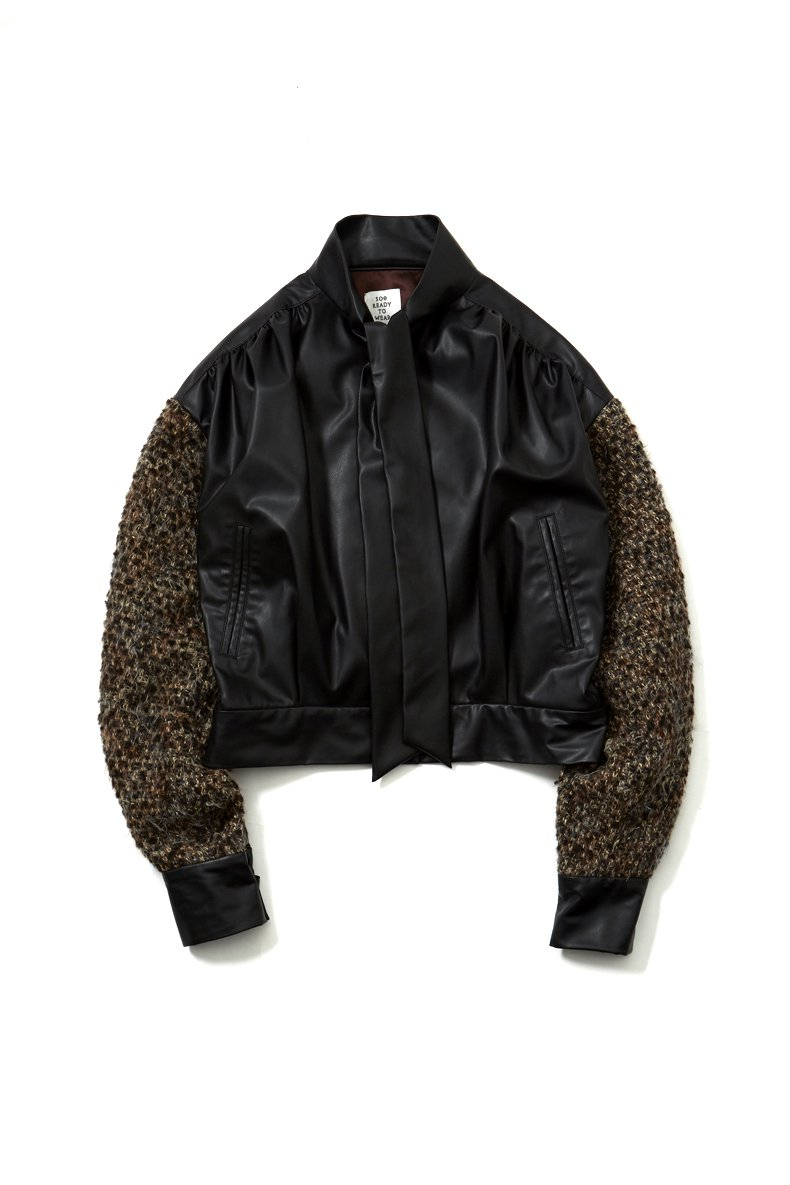 soe  Leather Tweed Bomber<img class='new_mark_img2' src='https://img.shop-pro.jp/img/new/icons15.gif' style='border:none;display:inline;margin:0px;padding:0px;width:auto;' />
