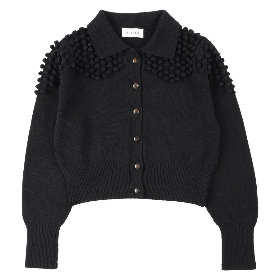 【21AW先行予約】BELPER  KNIT CARDIGAN(BLACK)※8月入荷予定予約品(4月23日 23:59 締め切り)<img class='new_mark_img2' src='https://img.shop-pro.jp/img/new/icons15.gif' style='border:none;display:inline;margin:0px;padding:0px;width:auto;' />
