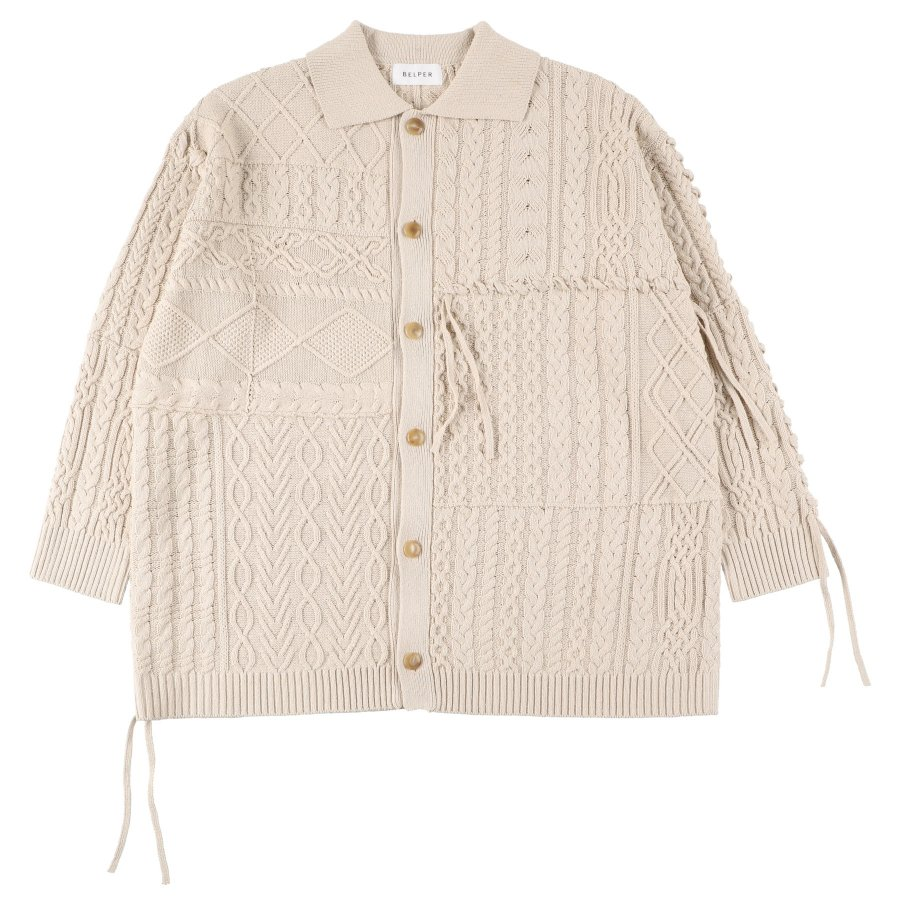 【21AW先行予約】BELPER  LINKING KNIT JACKET(ECRU)※8月入荷予定予約品(4月23日 23:59 締め切り)<img class='new_mark_img2' src='https://img.shop-pro.jp/img/new/icons15.gif' style='border:none;display:inline;margin:0px;padding:0px;width:auto;' />