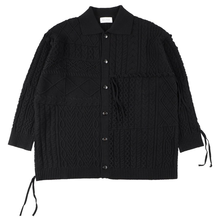 【21AW先行予約】BELPER  LINKING KNIT JACKET(BLACK)※8月入荷予定予約品(4月23日 23:59 締め切り)<img class='new_mark_img2' src='https://img.shop-pro.jp/img/new/icons15.gif' style='border:none;display:inline;margin:0px;padding:0px;width:auto;' />