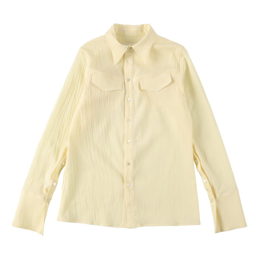 【21AW先行予約】BELPER  CRUMPLED SHIRT(YELLOW)※8月入荷予定予約品(4月23日 23:59 締め切り)<img class='new_mark_img2' src='https://img.shop-pro.jp/img/new/icons15.gif' style='border:none;display:inline;margin:0px;padding:0px;width:auto;' />