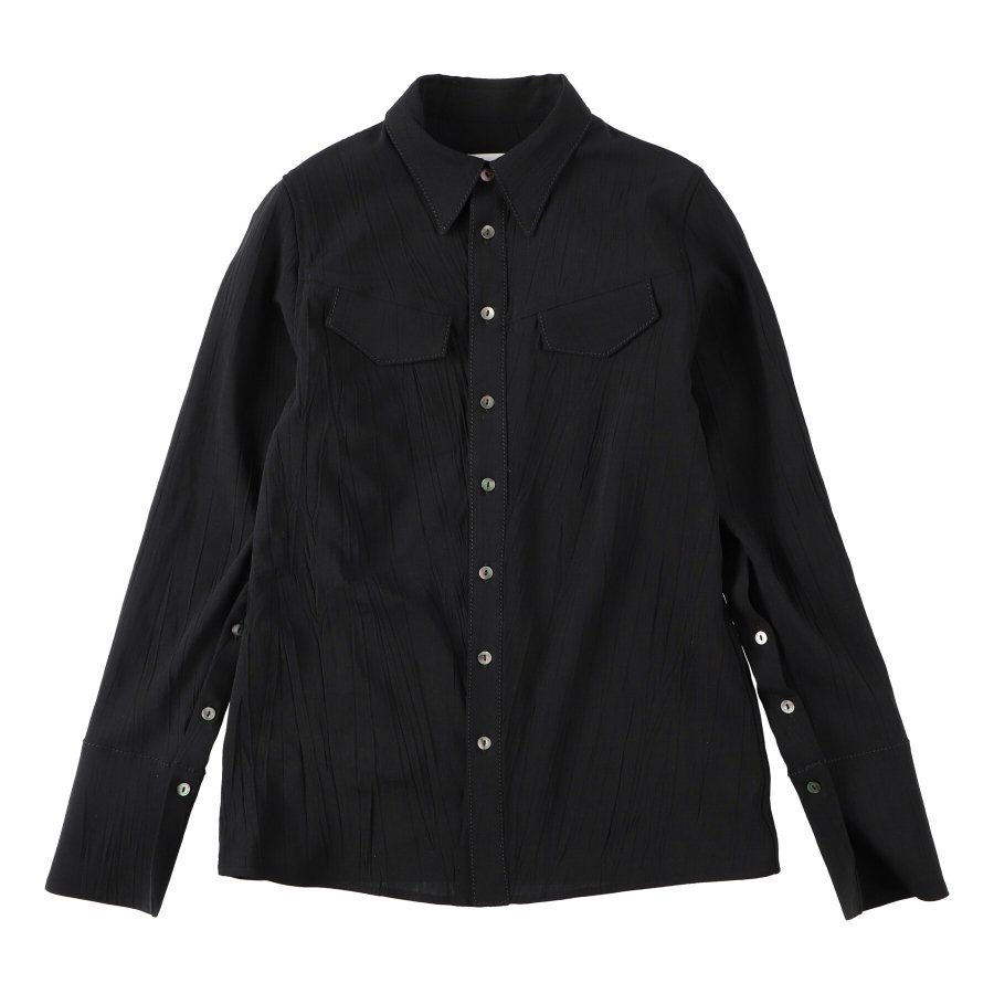 【21AW先行予約】BELPER  CRUMPLED SHIRT(BLACK)※8月入荷予定予約品(4月23日 23:59 締め切り)<img class='new_mark_img2' src='https://img.shop-pro.jp/img/new/icons15.gif' style='border:none;display:inline;margin:0px;padding:0px;width:auto;' />