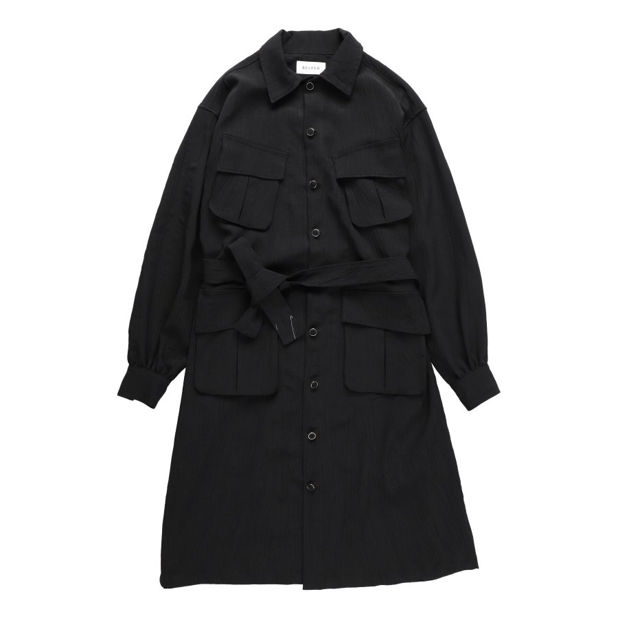 【21AW先行予約】BELPER  CRUMPLED MILITARY COAT(BLACK)※8月入荷予定予約品(4月23日 23:59 締め切り)<img class='new_mark_img2' src='https://img.shop-pro.jp/img/new/icons15.gif' style='border:none;display:inline;margin:0px;padding:0px;width:auto;' />