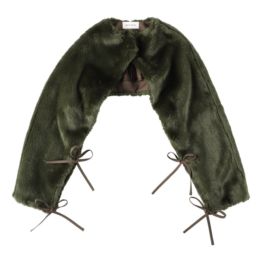 【21AW先行予約】BELPER  ATTACHED FUR SLEEVES(KHAKI)※9月入荷予定予約品(4月23日 23:59 締め切り)<img class='new_mark_img2' src='https://img.shop-pro.jp/img/new/icons15.gif' style='border:none;display:inline;margin:0px;padding:0px;width:auto;' />
