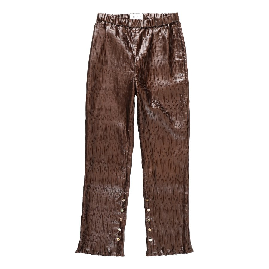 【21AW先行予約】BELPER  GLOSSY PLEATED PANTS(BROWN)※9月入荷予定予約品(4月23日 23:59 締め切り)<img class='new_mark_img2' src='https://img.shop-pro.jp/img/new/icons15.gif' style='border:none;display:inline;margin:0px;padding:0px;width:auto;' />
