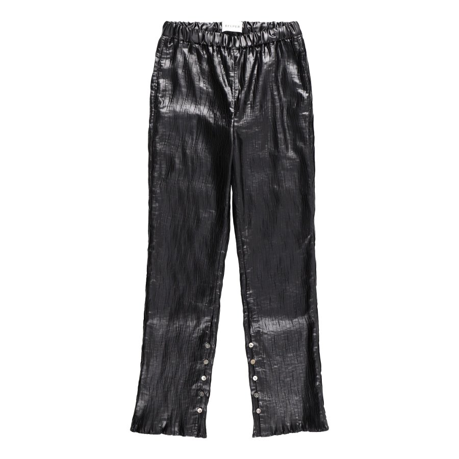 【21AW先行予約】BELPER  GLOSSY PLEATED PANTS(BLACK)※9月入荷予定予約品(4月23日 23:59 締め切り)<img class='new_mark_img2' src='https://img.shop-pro.jp/img/new/icons15.gif' style='border:none;display:inline;margin:0px;padding:0px;width:auto;' />