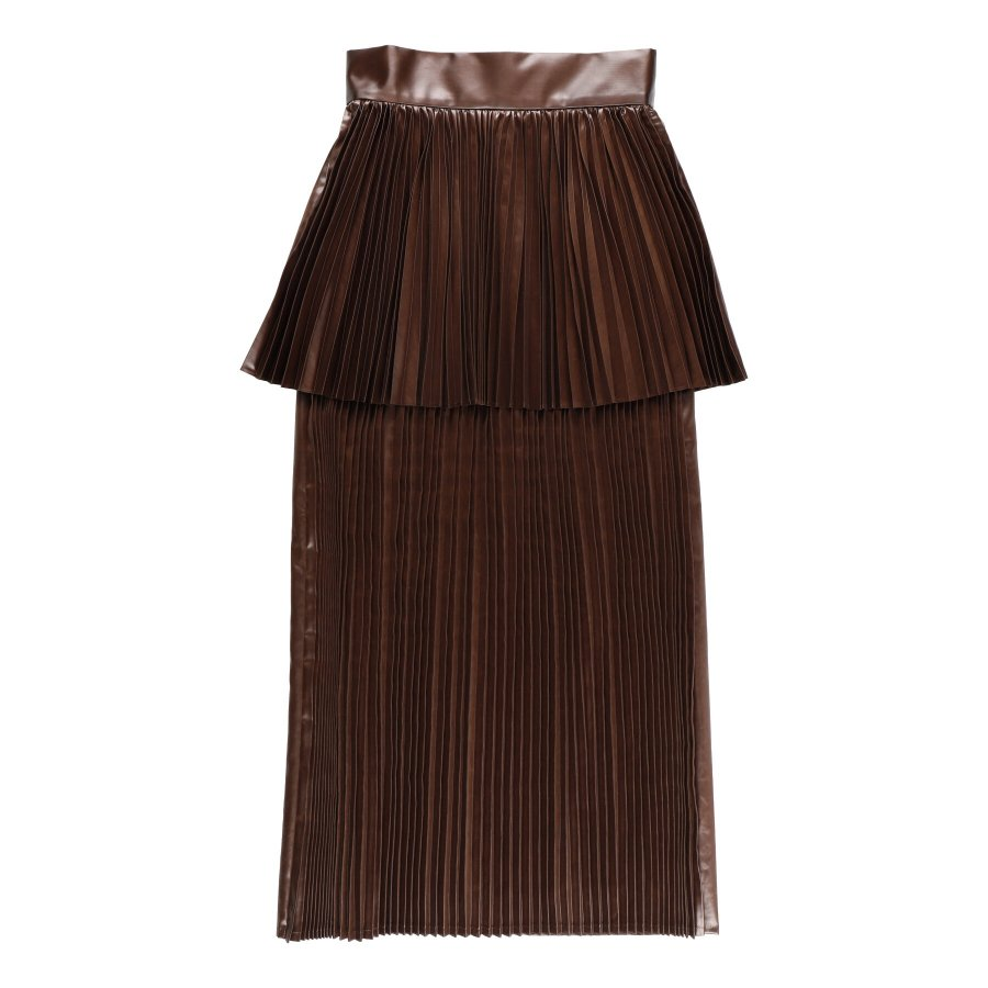 【21AW先行予約】BELPER  GLOSSY PLEATED SKIRT(BROWN)※9月入荷予定予約品(4月23日 23:59 締め切り)<img class='new_mark_img2' src='https://img.shop-pro.jp/img/new/icons15.gif' style='border:none;display:inline;margin:0px;padding:0px;width:auto;' />
