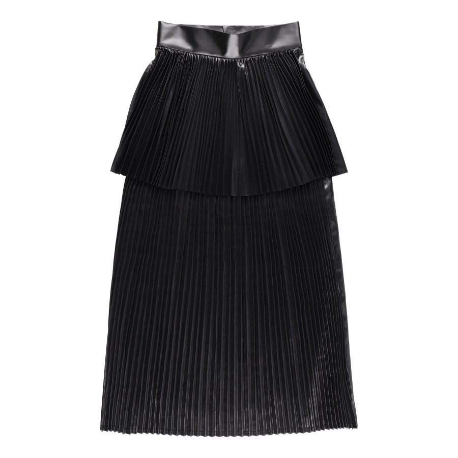 【21AW先行予約】BELPER  GLOSSY PLEATED SKIRT(BLACK)※9月入荷予定予約品(4月23日 23:59 締め切り)<img class='new_mark_img2' src='https://img.shop-pro.jp/img/new/icons15.gif' style='border:none;display:inline;margin:0px;padding:0px;width:auto;' />