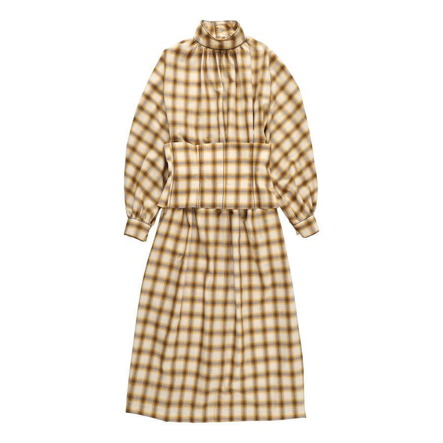 【21AW先行予約】BELPER  OMBRE PLAID BUSTIER DRESS ※9月入荷予定予約品(4月23日 23:59 締め切り)<img class='new_mark_img2' src='https://img.shop-pro.jp/img/new/icons15.gif' style='border:none;display:inline;margin:0px;padding:0px;width:auto;' />