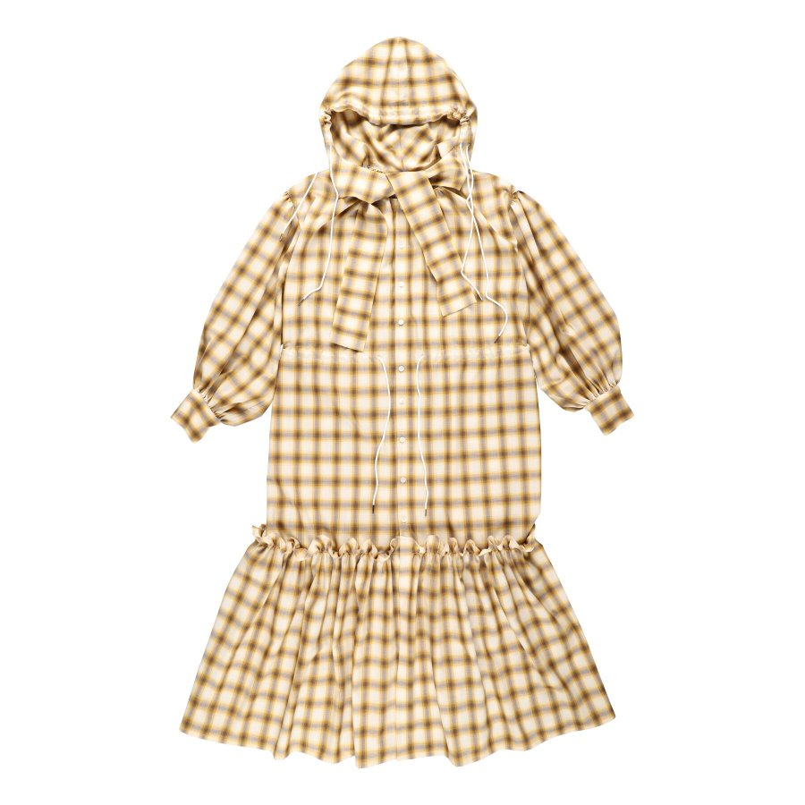 【21AW先行予約】BELPER  OMBRE PLAID HOODIE DRESS ※9月入荷予定予約品(4月23日 23:59 締め切り)<img class='new_mark_img2' src='https://img.shop-pro.jp/img/new/icons15.gif' style='border:none;display:inline;margin:0px;padding:0px;width:auto;' />