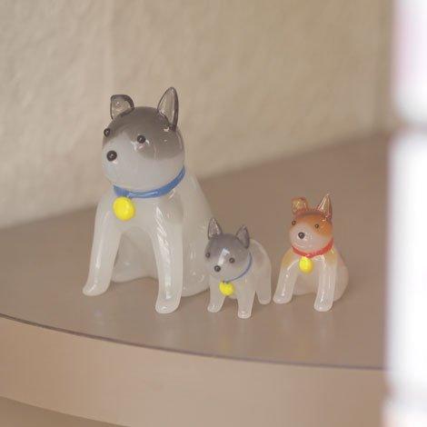 親犬 置物 灰色