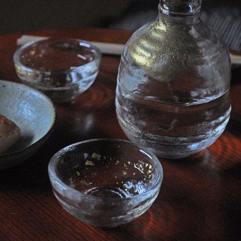 金箔硝子 錦 酒器三点揃い 透明